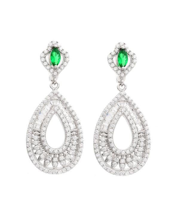GemLN 92.5 Sterling Silver Green Stone Chandelier Silver Earrings