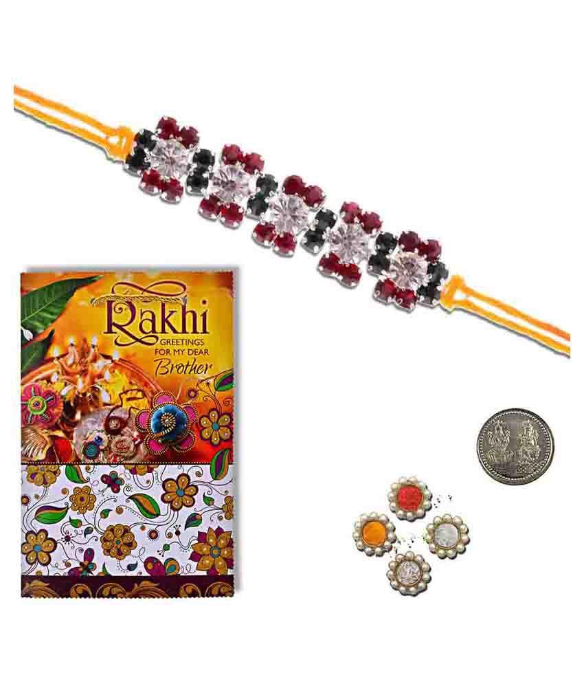 Little India Handmade Design Silver Rakhi Greeting Card Gift Buy