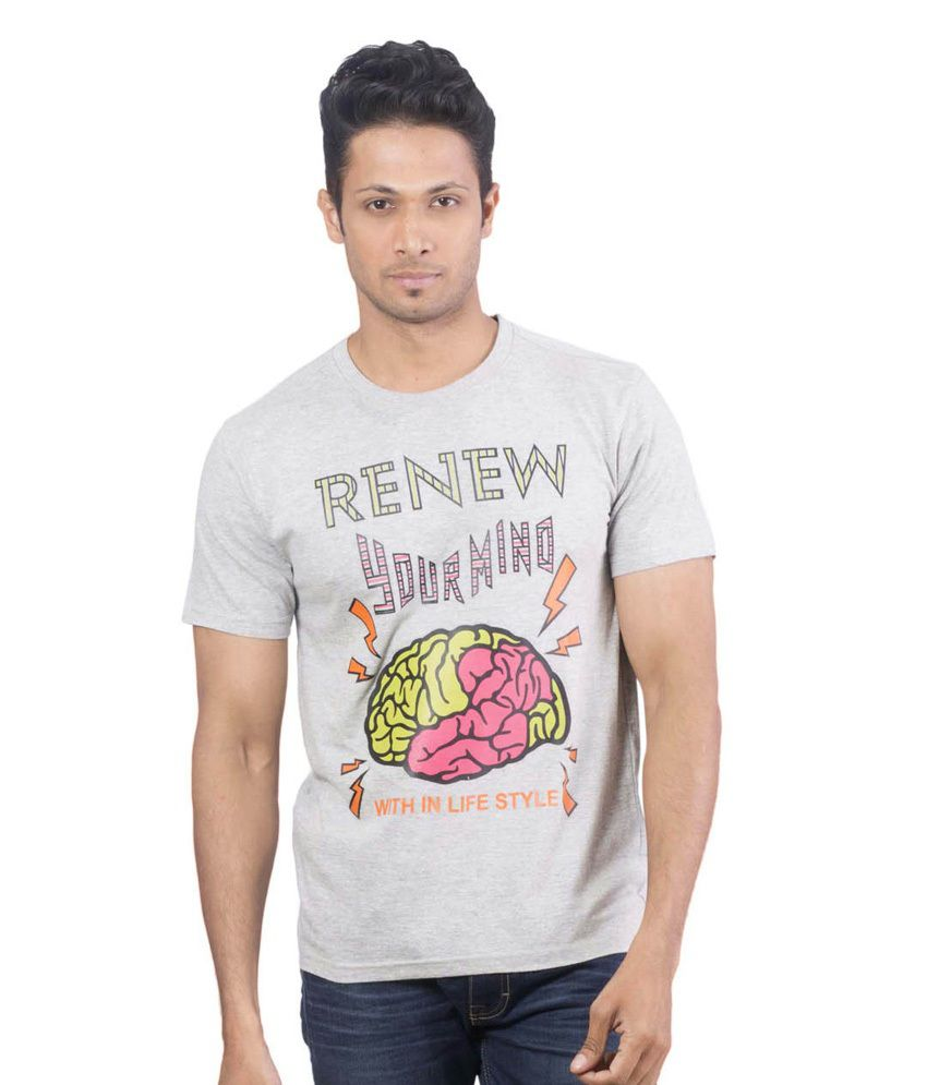 Oviyon Gray Cotton Printed Round Neck T Shirt For Men