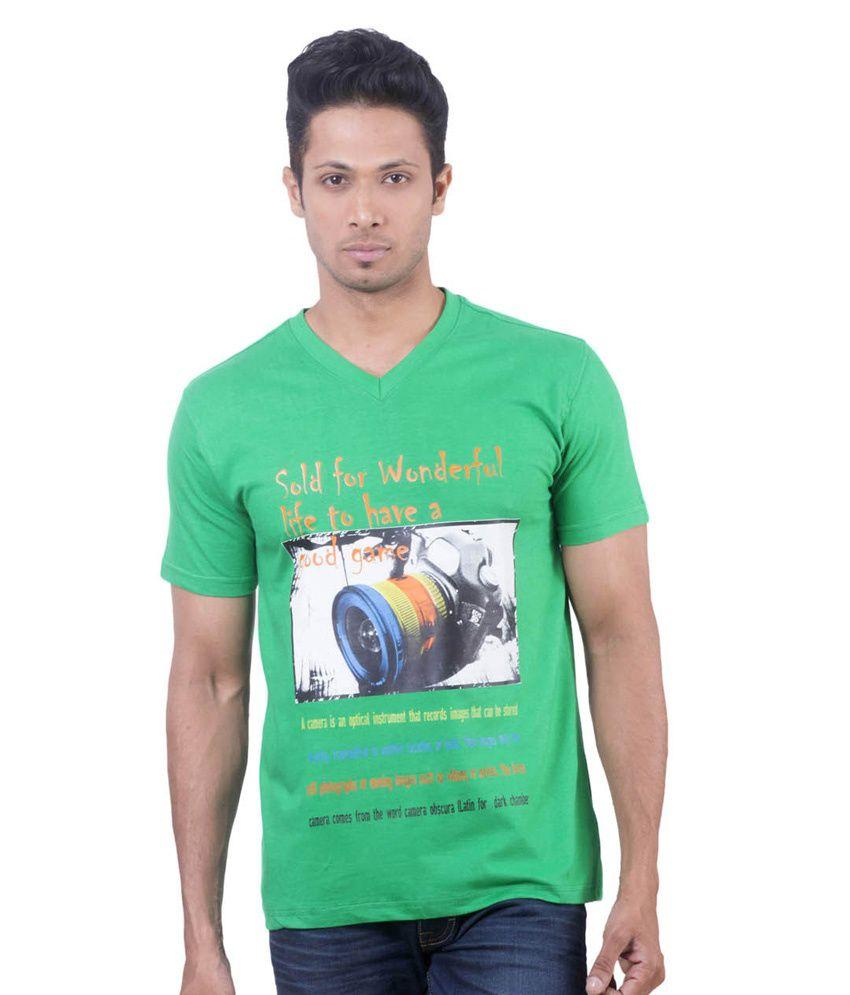 Oviyon Green Cotton Printed V-neck T Shirt For Men