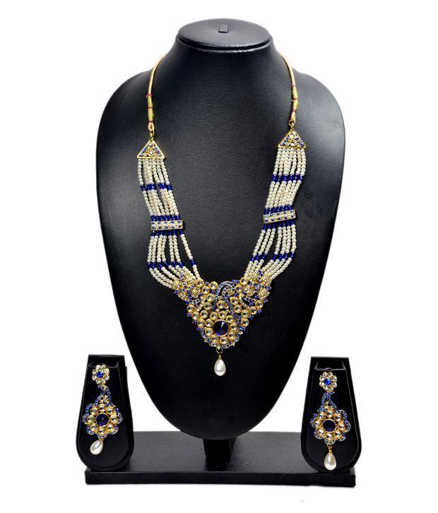 Akshada Creation Blue Alloy Traditional Design Pearl Necklace Set