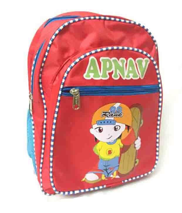 Apnav Polyester Red Kids School Bag