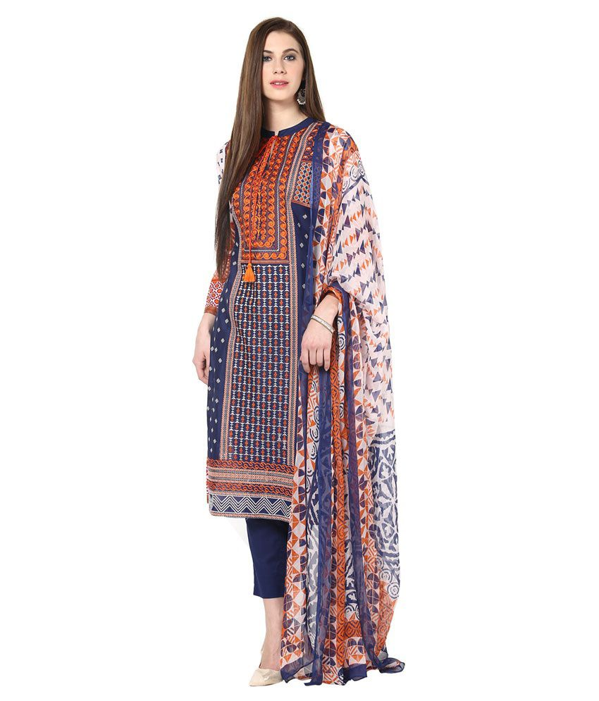Gul Ahmed Blue Cotton Unstitched Dress Material