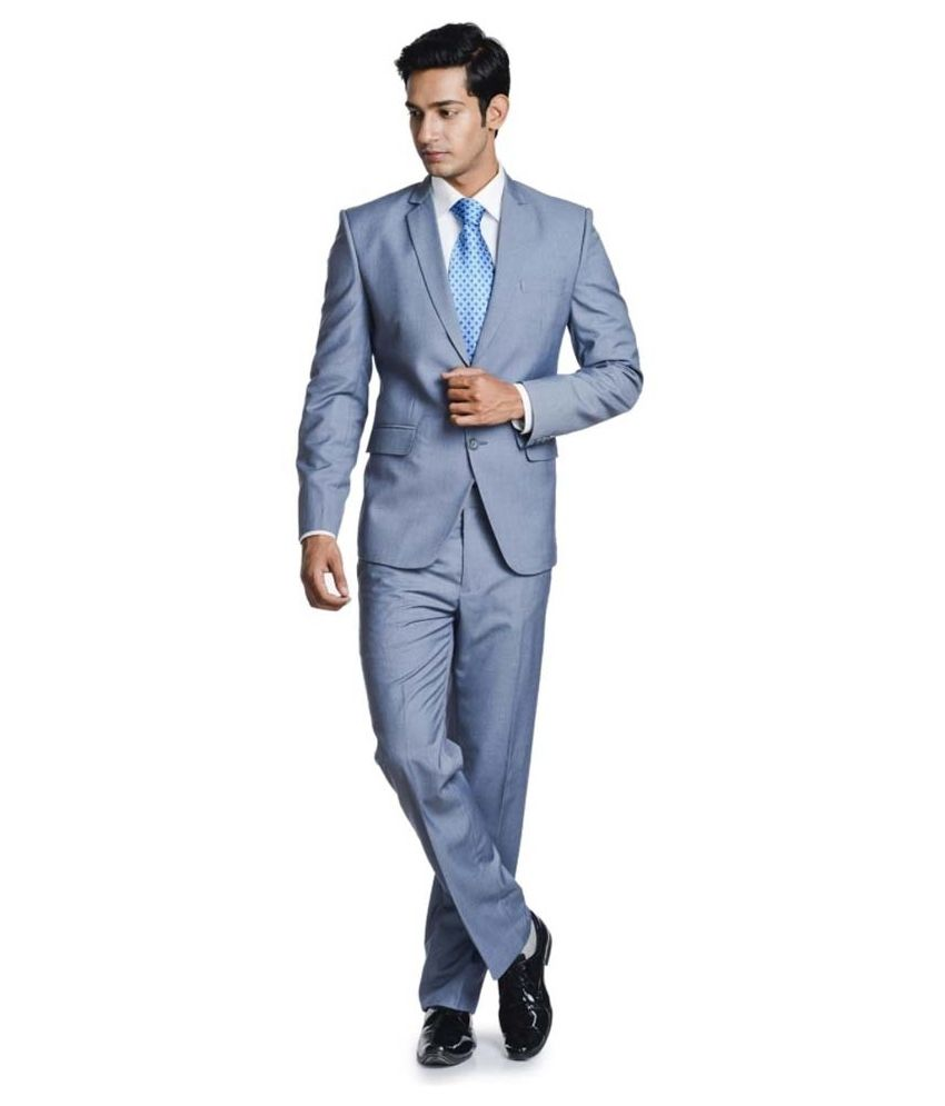 Promi Knitwear Gray Formal Suit