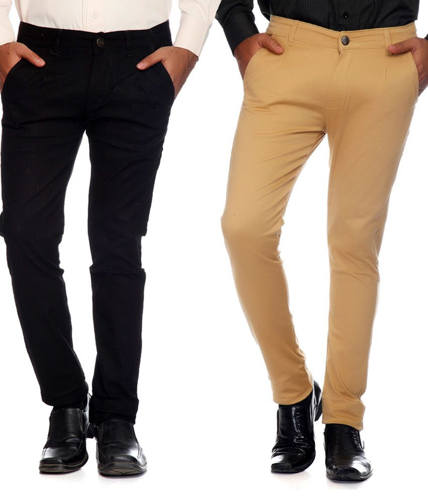 Ave Multicolor Cotton Lycra Regular Fit Formal Trousers - Combo of 2