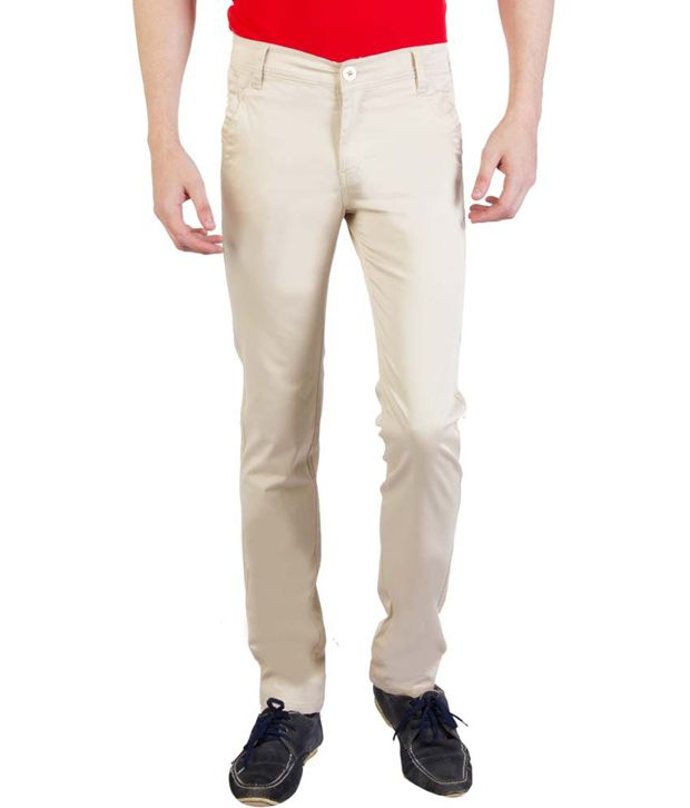 Bloos Jeans White Cotton Lycra Casual Trousers