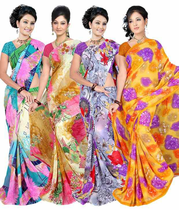 Garg Fashion multi Pure Georgette Pack of 4