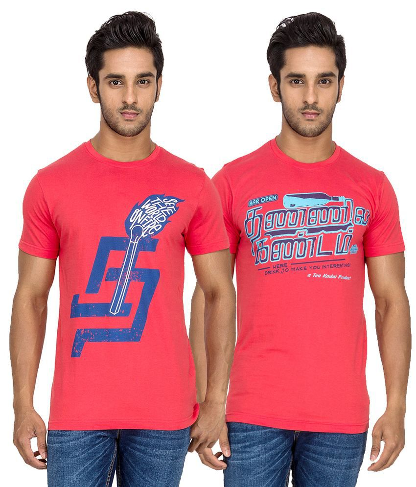 Tee Kadai Red and Pink Cotton Half Sleeves T-shirt