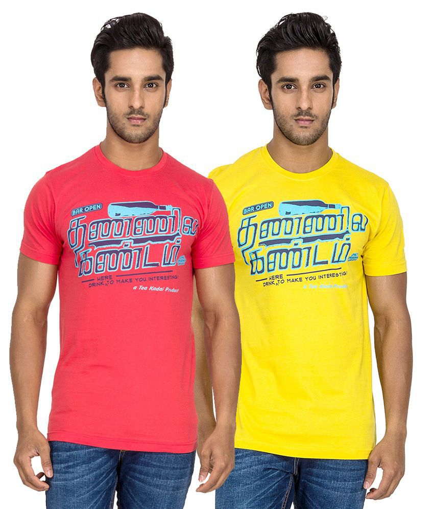 Tee Kadai Yellow and Red Cotton Half Sleeves T-shirt