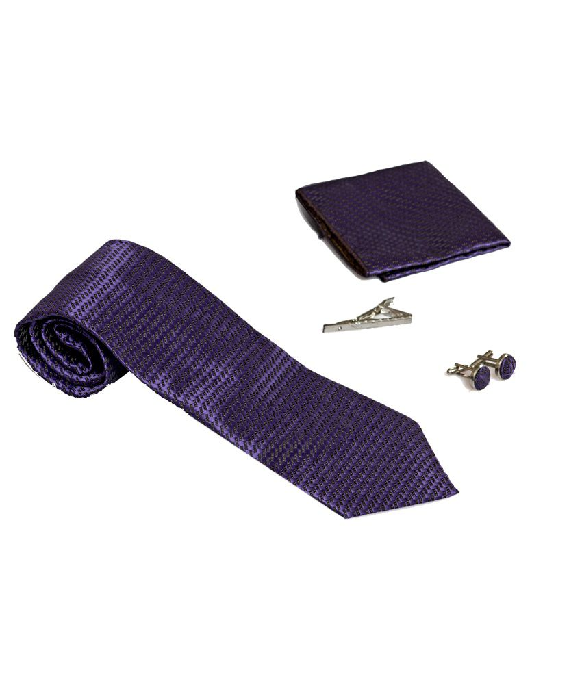 Won Fashion Tailors Purple Casual Necktie With Pocket Square Cufflinks