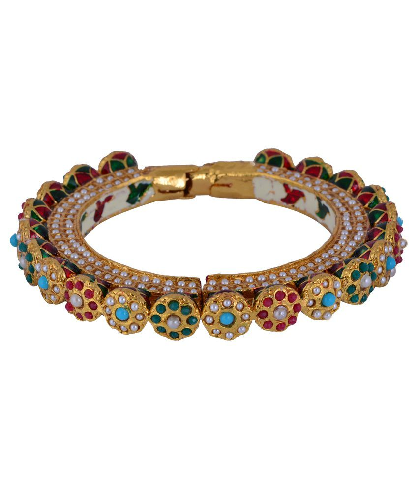 Chaahat Fashion Jewellery Multicolour Copper Gold Plated Bracelet