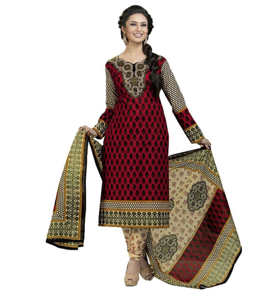 Indian wholesale clothing red cotton dress material buy for Cheap clothing material