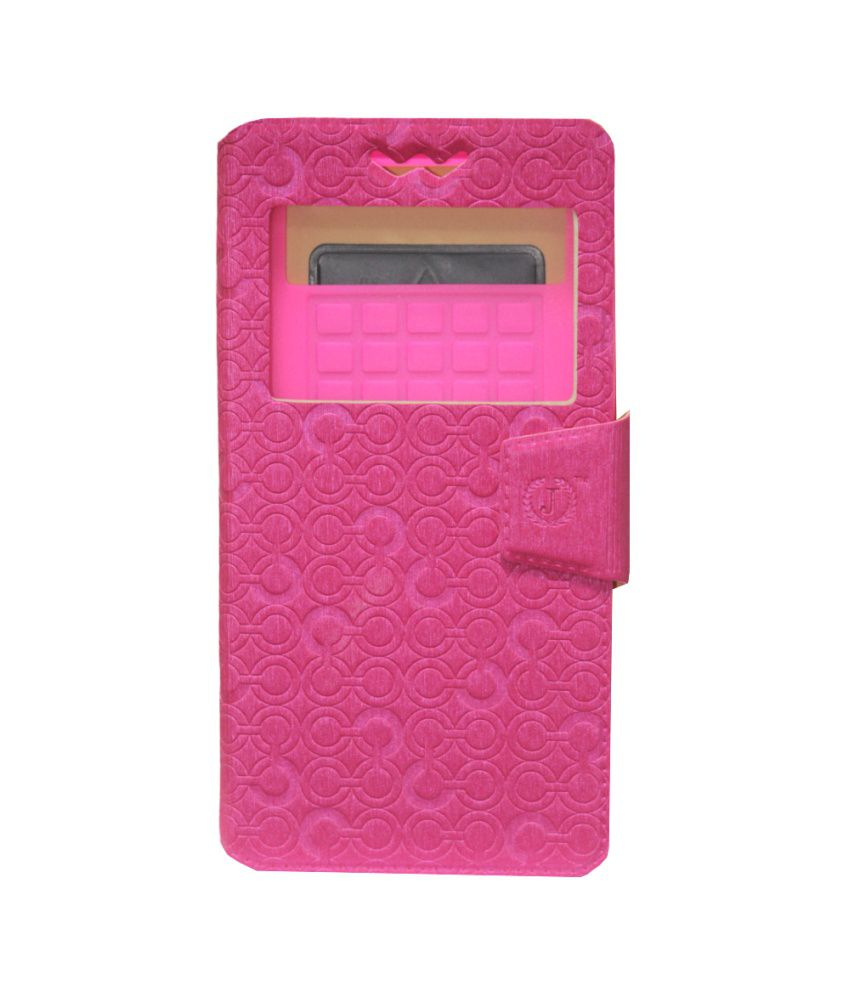 Jo Jo Pouch Flip Cover With Silicon Holder For Xolo A600 Exotic - Pink