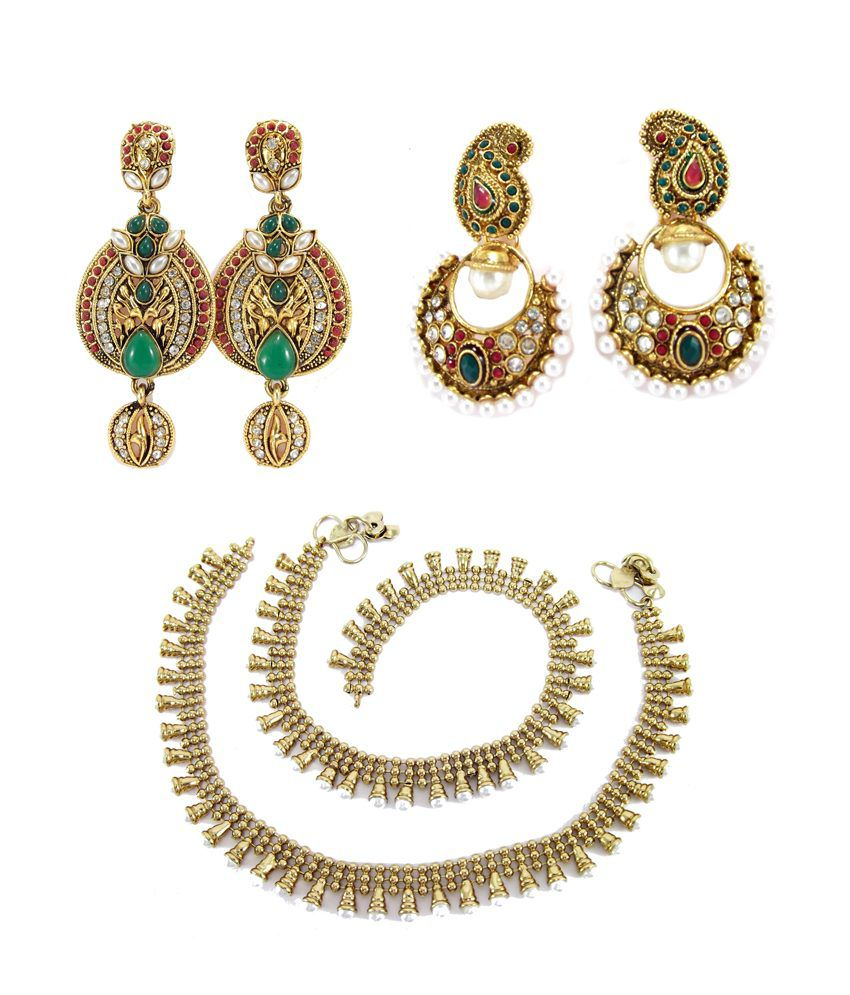9Blings Multicolour Alloy 2 Earring And Anklet Combo