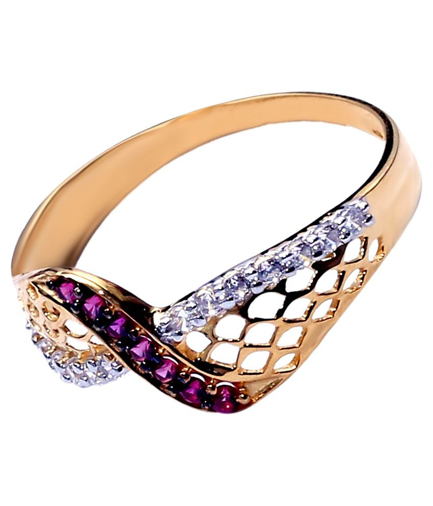 BS Gold Ring In 18 Karat For Women Studded With Cz