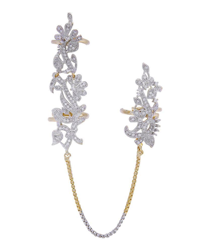Jewels Galaxy Ravishing American Diamond Multi Finger Free Size ...