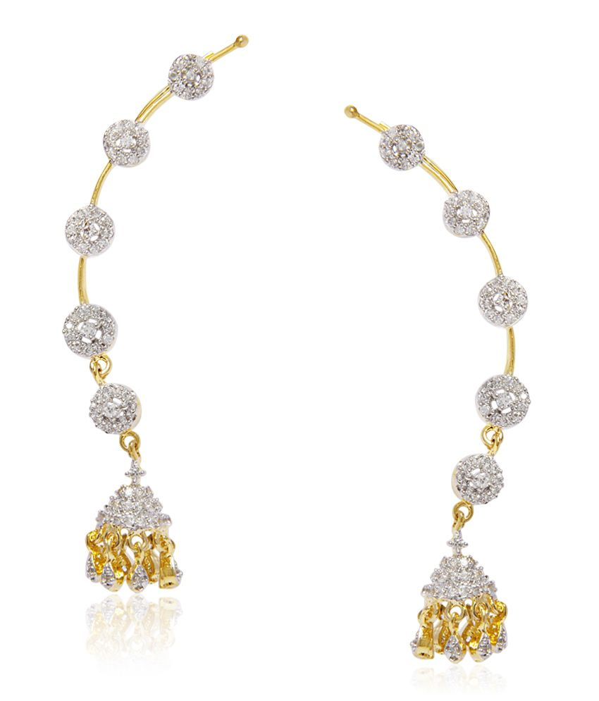 Jewels Galaxy Ciruclar Ad Jhumka Earcuff (2 Piece)