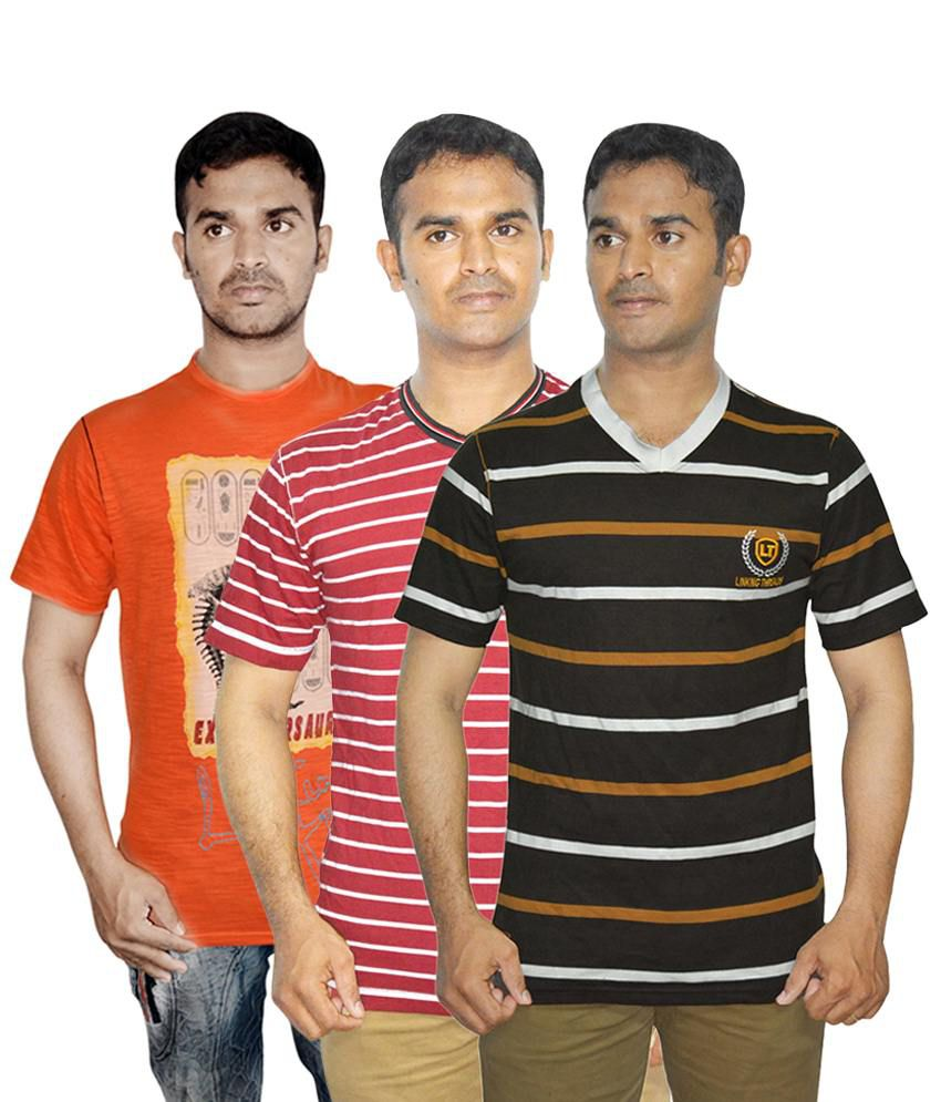 Linking Threads Lovely Orange, Brown & Red Pack of 3 T Shirts for Men