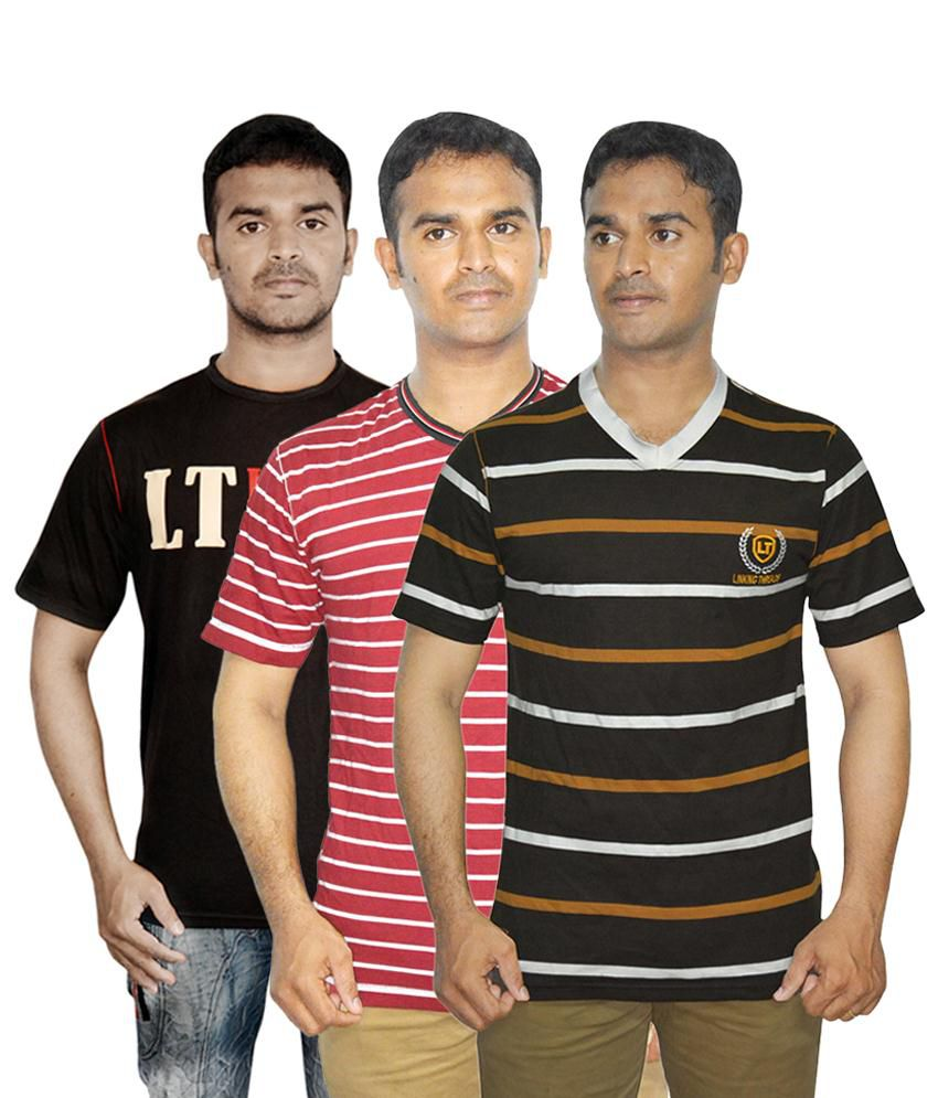 Linking Threads Marvellous Black, Brown & Red Pack of 3 T Shirts for Men