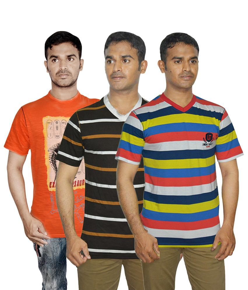 Linking Threads Superb Green, Orange & Brown Pack of 3 T Shirts for Men
