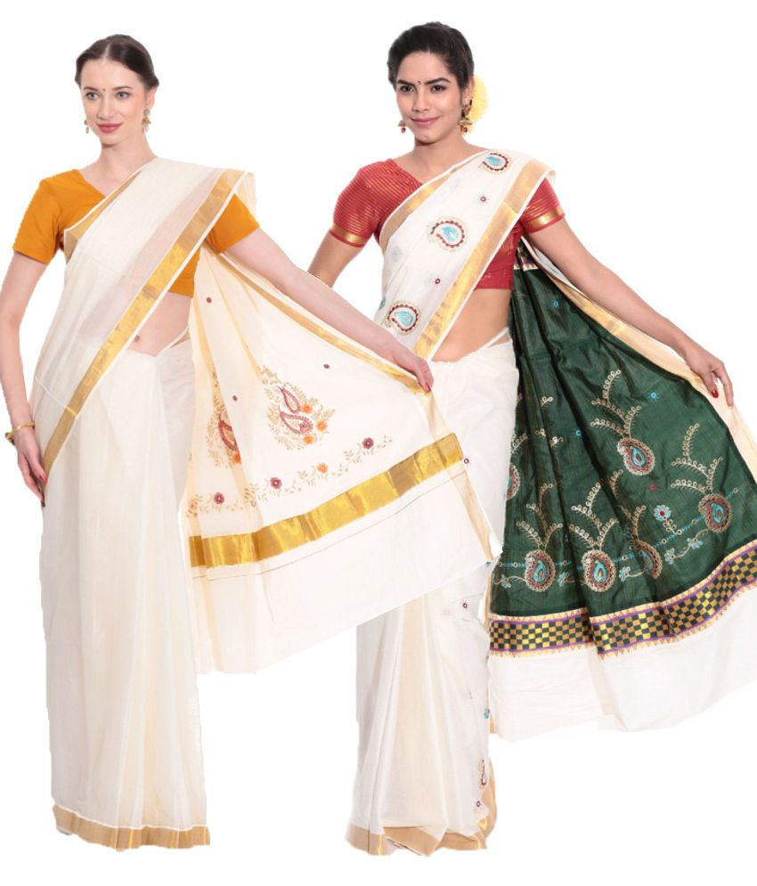Fashion Kiosks Combo of Offwhite and Green Kerala Kasavu Cotton Sarees with Matching Blouse (Pack of 2)