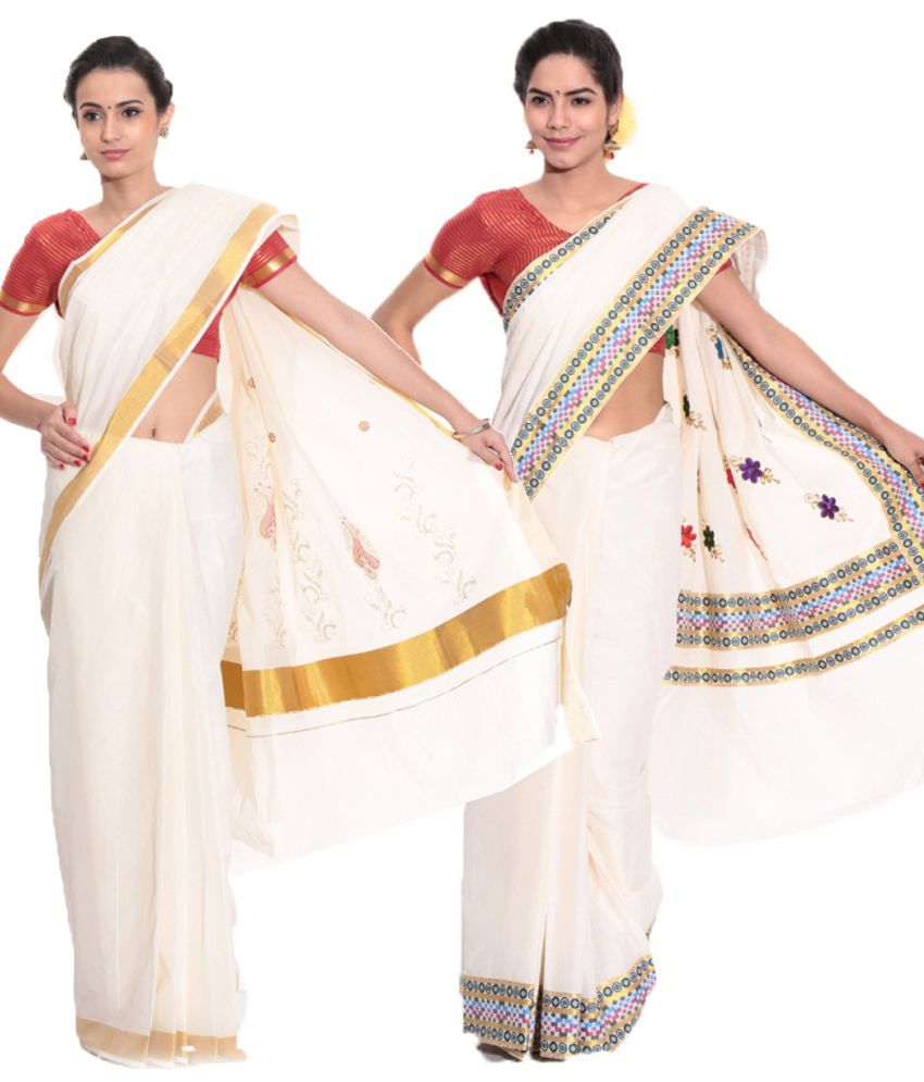 Fashion Kiosks Combo of Offwhite and White Kerala Kasavu Cotton Sarees with Matching Blouse (Pack of 2)