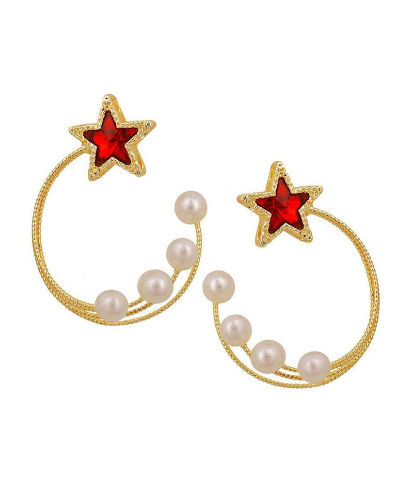 Maayra Beautiful Red & Gold Pearl Hoop Earrings