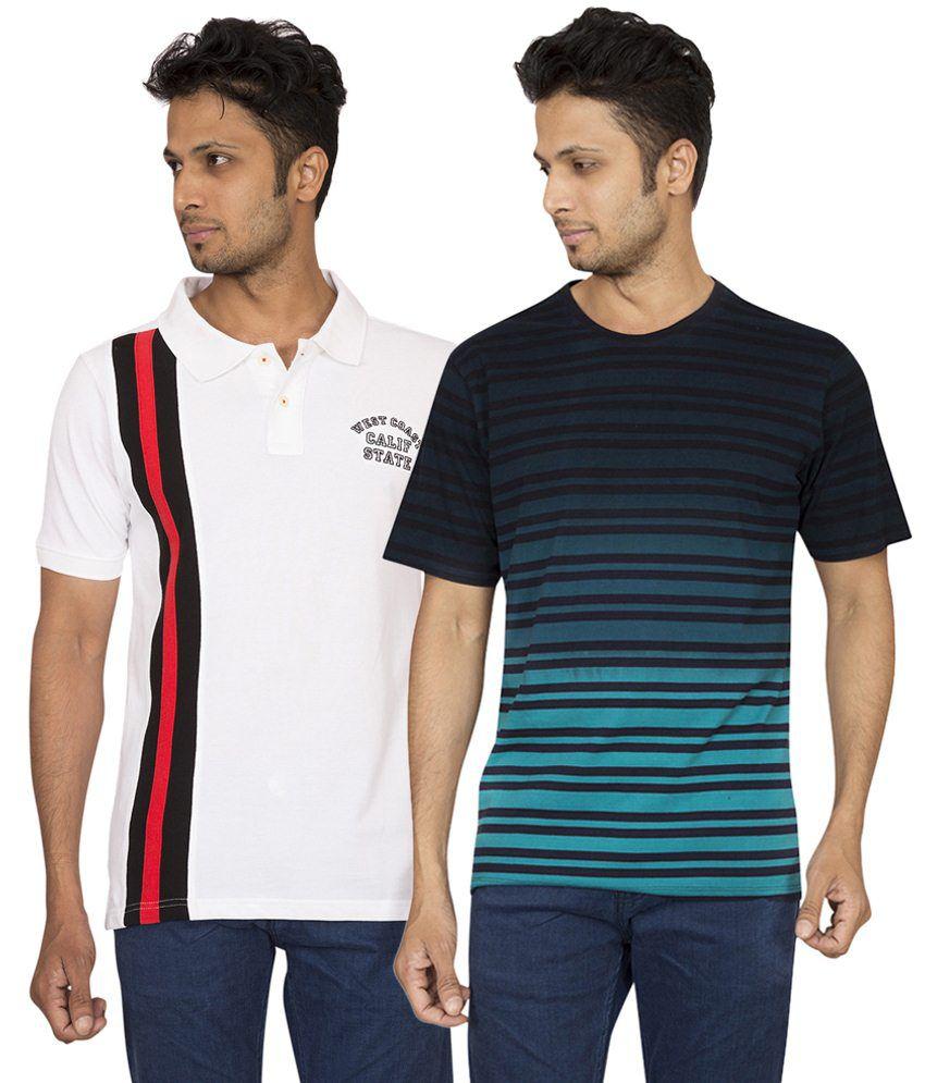 Red Line Classy Set of Black T Shirt & White Polo T Shirt for Men