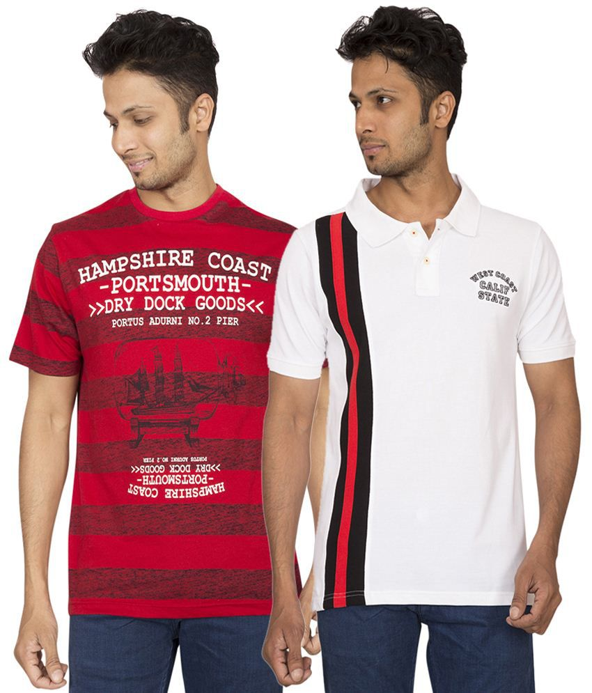 Red Line Set of Red T Shirt & White Polo T Shirt for Men