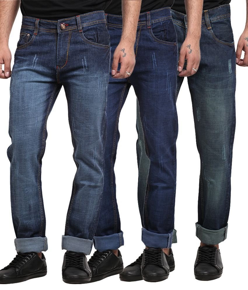 X-cross Multicolour Cotton Blend Regular Fit Jeans - Set of 3