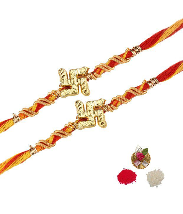 Asthetika Traditional Swastik Mauli Rakhi - Set Of 2