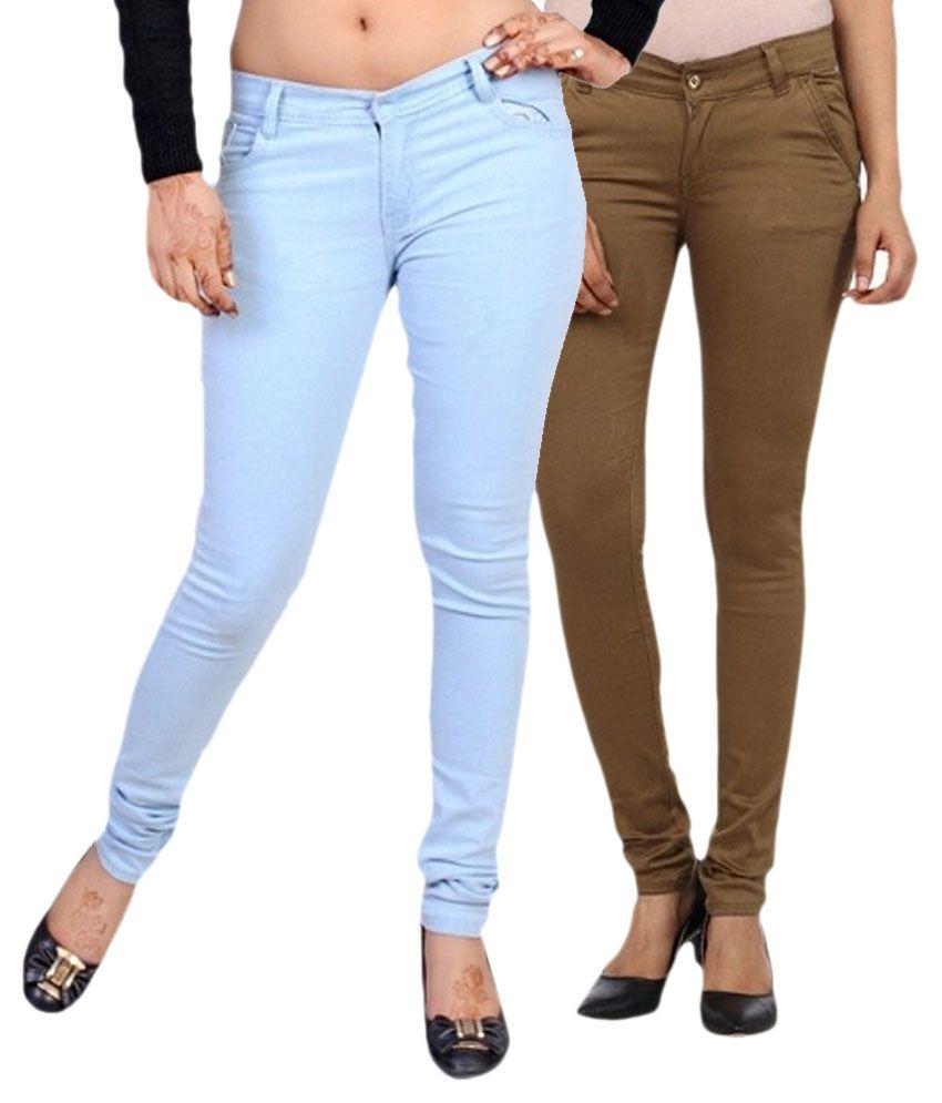 Buy Golden Cloud Women Light Blue & Brown Stretchiable Slim Fit ...