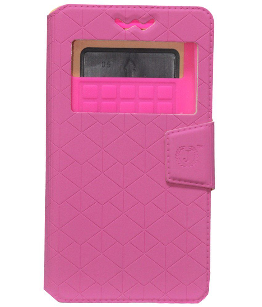 Jo Jo Flip Cover For Spice Mi-422 Smartflo Pace Exotic-Pink With Silicon Holder