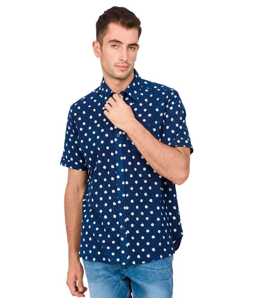 Orange Plum Blue Cotton Half Sleeves Printed Casual Shirt