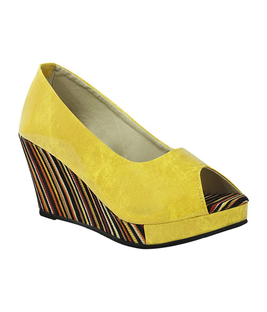 Get Glamr Yellow Faux Leather Wedges