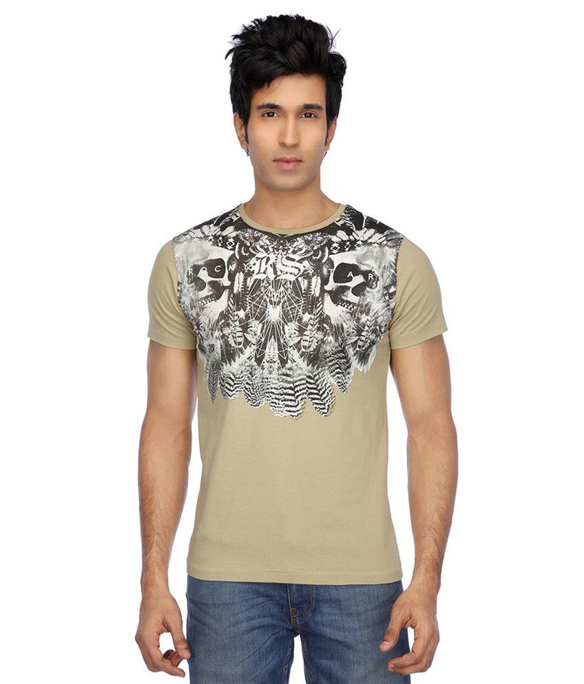 RS By Rock Star Green Round Neck T-Shirt