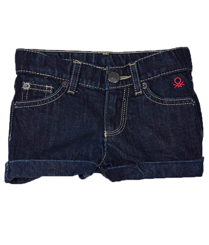 United Colors of Benetton Blue Cotton Shorts