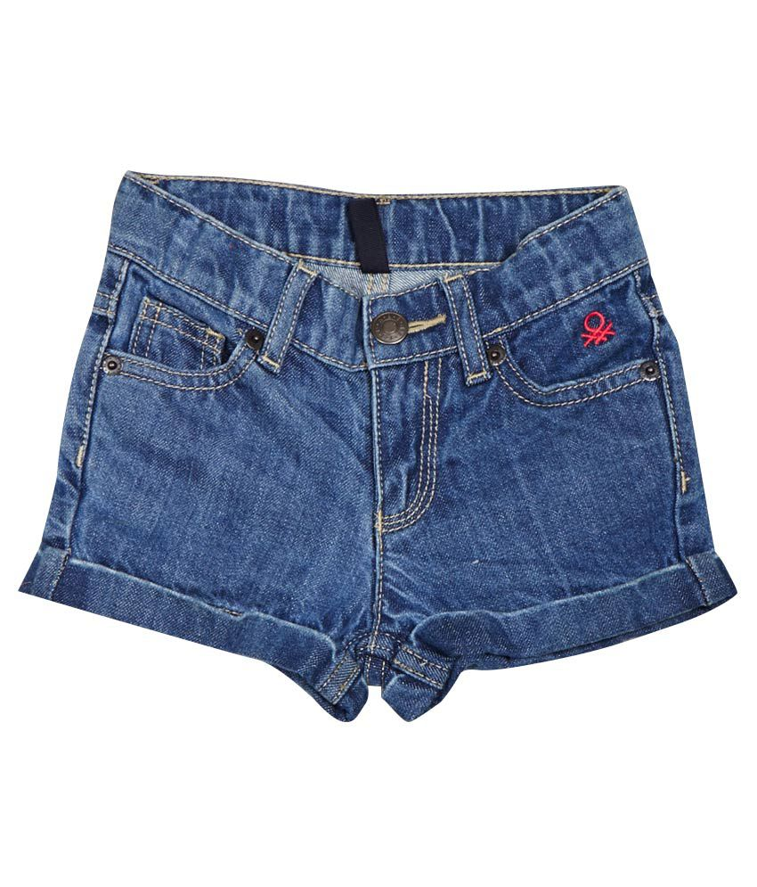 United Colors of Benetton Blue Cotton Shorts