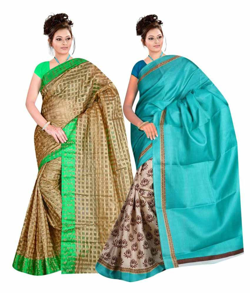 Saibaba Textiles Multi Net Jacqurd & Bhagalpuri Pack of 2