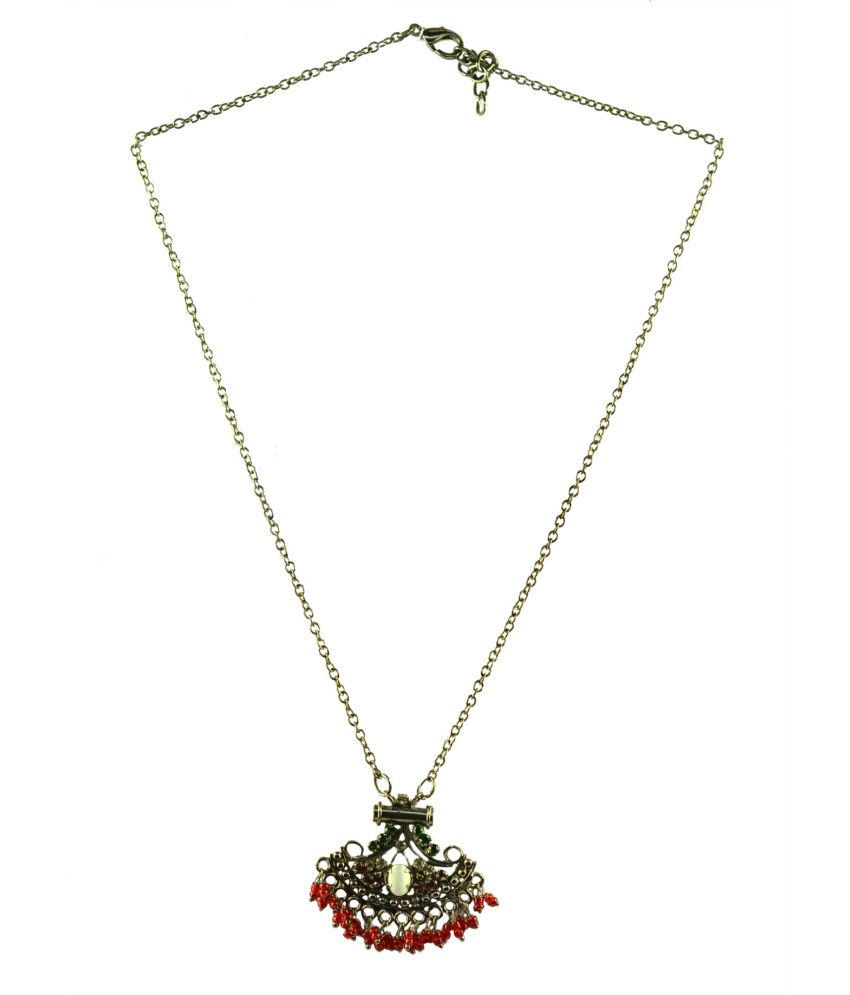 Suvini Silver Oxidised Metal With Maroon Beads & Stones Pendant Necklace