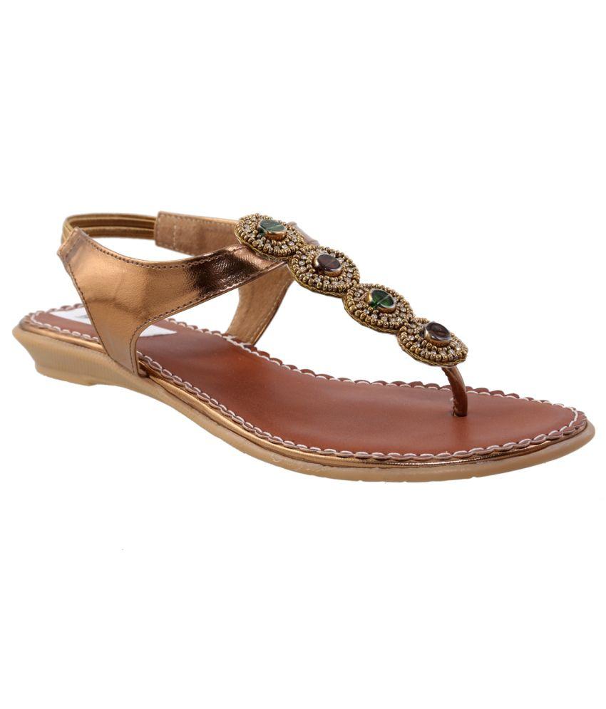 Faith Golden Ethnic Flat Sandals