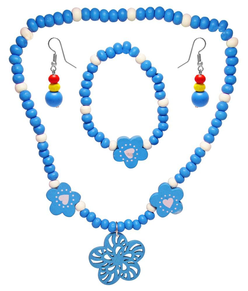 Jewelz Blue Antique Necklace Set