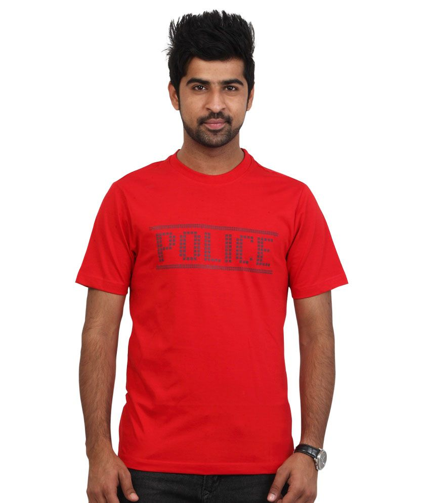 Police Red Cotton Round Neck T-shirt