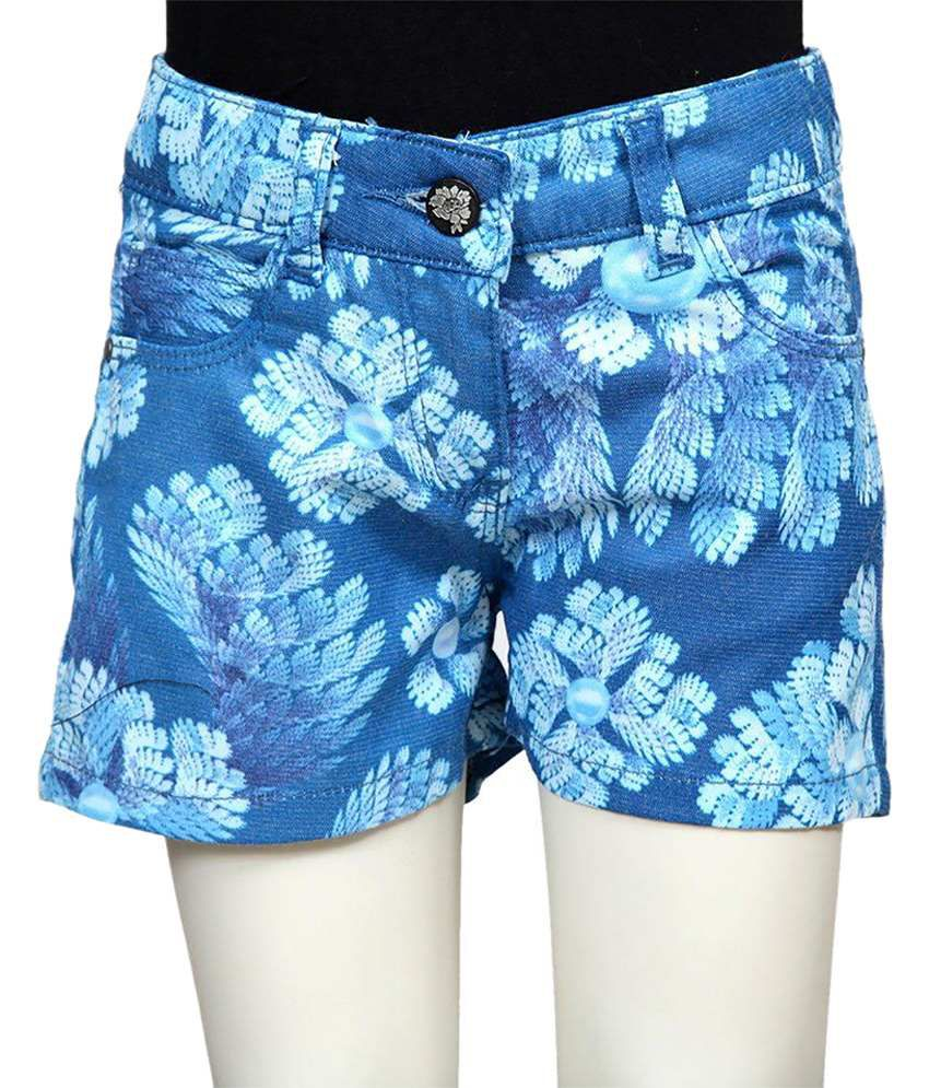 Tales & Stories Blue & White Cotton Shorts