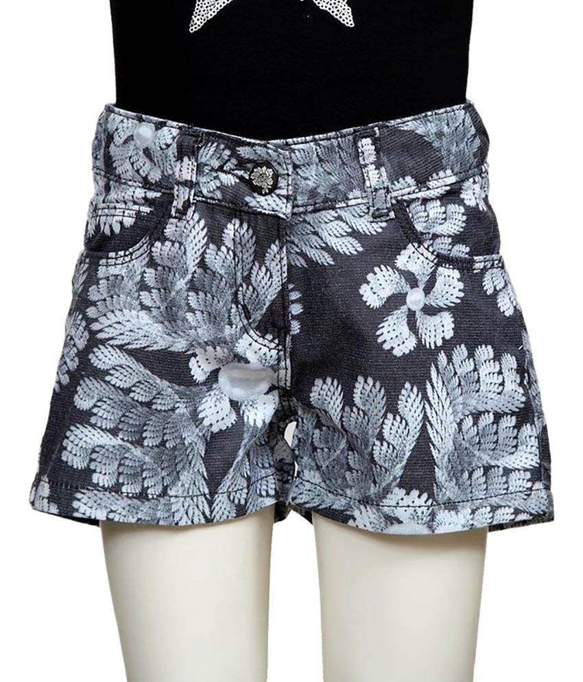 Tales & Stories Gray & White Cotton Shorts