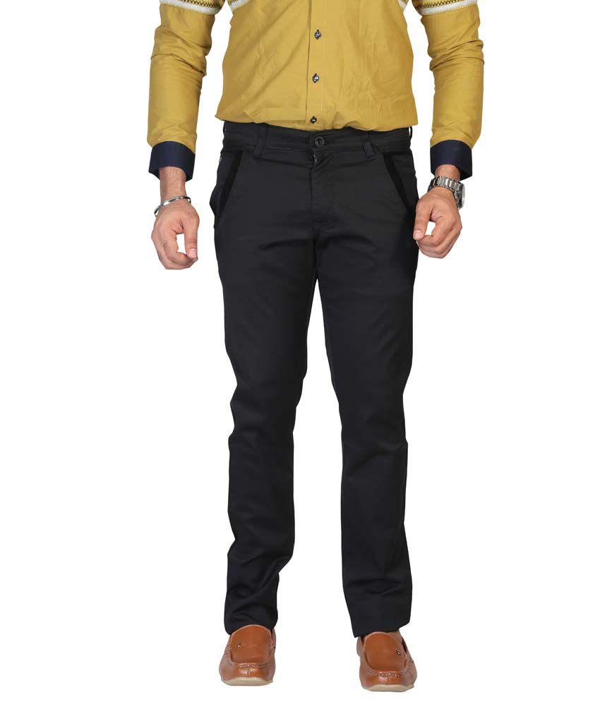 Apris Black Cotton Casual Trouser For Men
