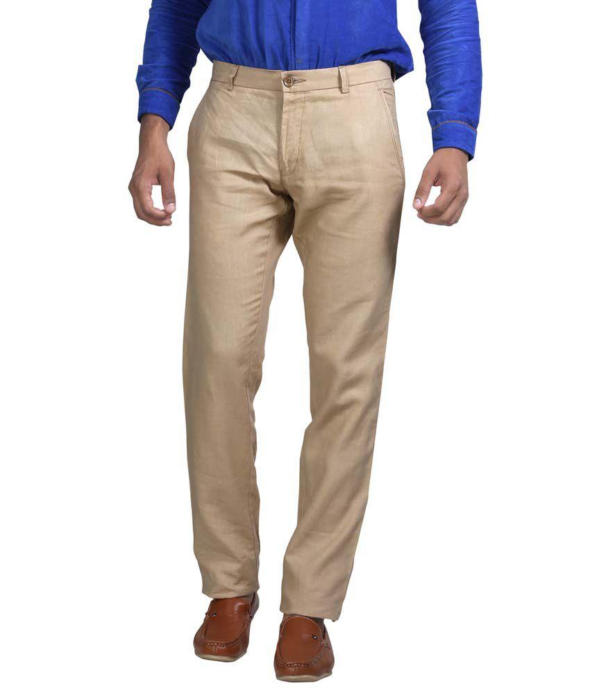 Apris Khaki Cotton Casual Trouser For Men