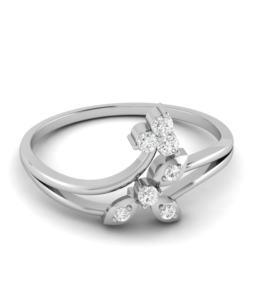 Ciemme 0.09 Ct Classsic 10 Kt White Gold Real Diamond Ring For Women