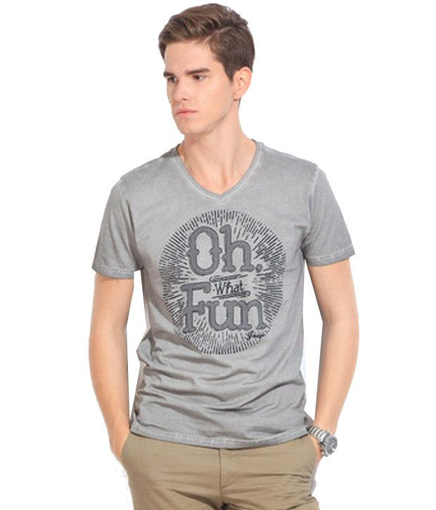 Inego Gray Cotton T-shirt