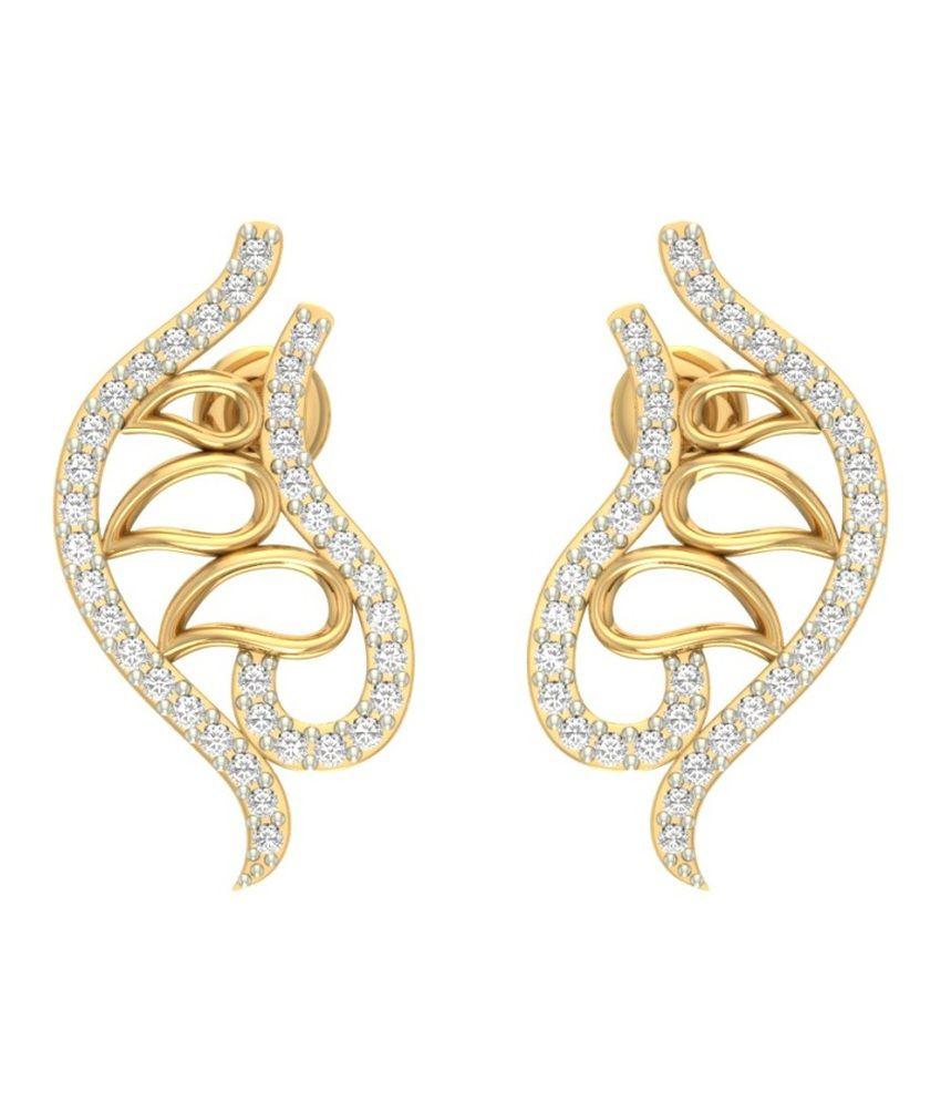Jewels5 14kt Gold Diamond Stud Earring